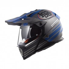 Шлем LS2 MX436 Pioneer Evo Quarterback Matt Titanium Blue