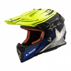 Шлем LS2 MX437 Fast Core Matt Black H-V Yellow