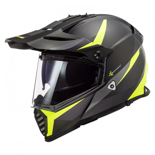 Шлем LS2 MX436 Pioneer Evo Router Mat Black H-V Yellow
