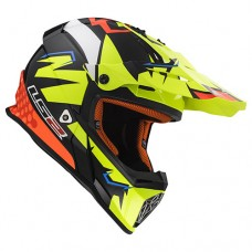 Шлем LS2 MX437 Fast Volt Black Yellow Organe