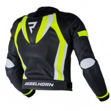 Куртка кожаная Rebelhorn Piston Ii Pro Black White Fluo Yellow