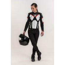 Куртка кожаная женская Rebelhorn Rebel Lady Black/White/Flo Red