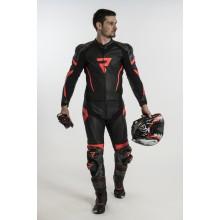 Штаны кожаные Rebelhorn REBEL Black/Flo Red
