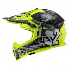 Шлем LS2 MX437 Fast Evo Crusher Black H-V Yellow