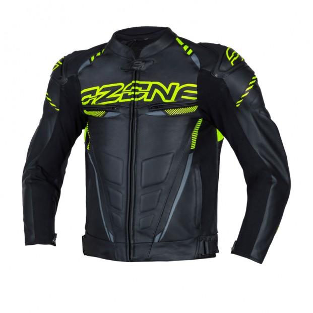 Куртка кожаная OZONE RS600 BLACK/FLO YELLOW